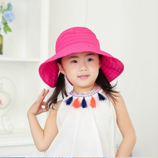 d0ead66733abd Folding Children Girls Sun Hat Baby Outdoor Sunshade Caps Kids Beach Hat UV  Big Brim Hat Candy Color Caps Nice Girl Big Brim Hat