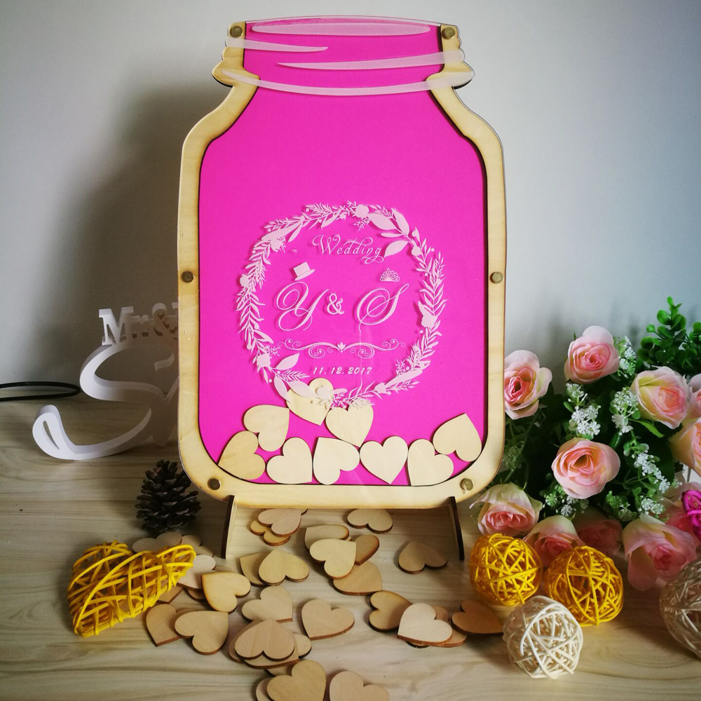 Custom Personalized Mason Jar wooden Frame Wedding Guest Book baby ...