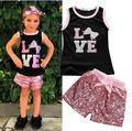 2 unids niños Toddler Kids bebé infantil de las muchachas ropa fija lentejuelas Top chaleco de la camiseta cortos lazo rosa verano 2 unids Girls 2016