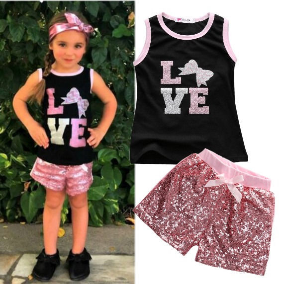 2pcs Children Toddler Kids Baby Infant Girls Clothes Sets Sequins Top Vest T-shirt Shorts Bow Pink Cotton Summer 2pcs Girls 2016 lonsant new 2018 summer baby girls kids girls love heart bow vest t shirt bow plaid shorts set sleeveless round neck clothing