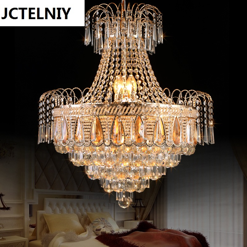 Gold Royal Classic Empire Luxury K9 Crystal Chandelier Lighting Lustre Cristal Lamp for Living Room by DHL Free Shipping