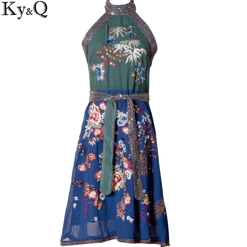 Ky&Q 2017 SummerCasual Collar Retro Round Neck Sleeveless Luxury Handmade Embroidery Flower Women Party Beach Dress