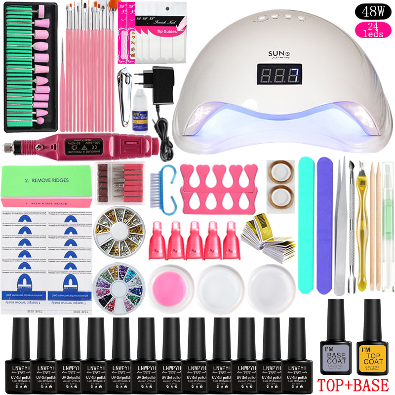 36w/48w/72w Led Uv Nail Lamp Choose 12 Color Gel Nail Polish Varnish Acrylic Kit Electric Nail Drill Machine for Manicure Set-in Sets & Kits from Beauty & Health    2