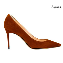 Aiyoway 2019 Women Shoes Ladies Pointed Toe High Heels Pumps Autumn Spring Party Work & Career Casual Slip-on Faux Suede