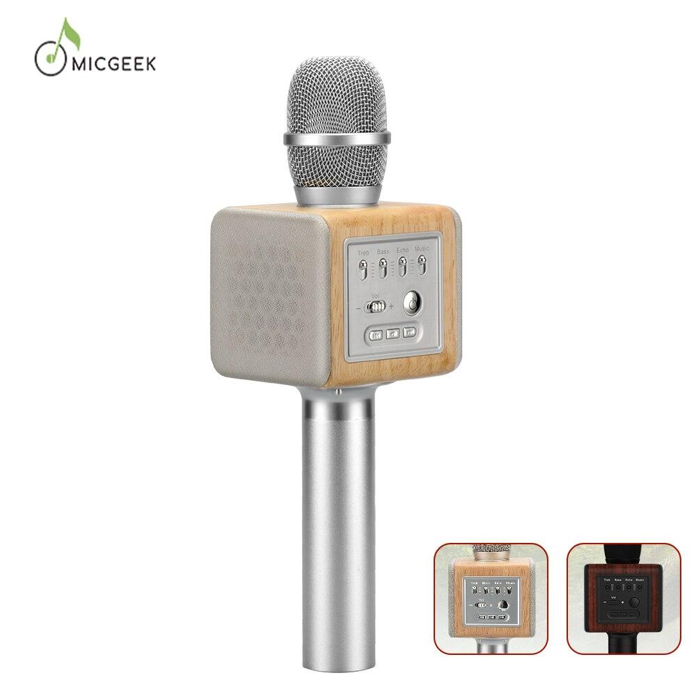 Marca Original MicGeek ELF Karaoke MICRÓFONO INALÁMBRICO 2,1 pista de sonido Natural Rosewood Chip DSP voz altavoces Smartphone