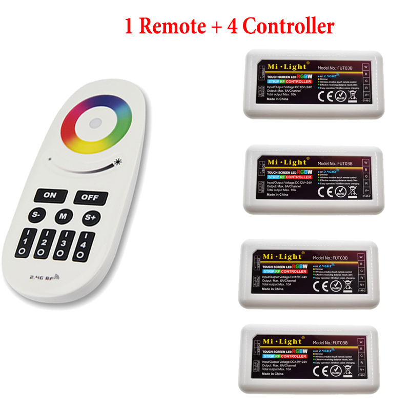 DC12-24V Milight RGBW controller 2.4G 4 zone separtately control wireless RF RGB remote controller RGB For 5050 RGBW LED Strip dc5 24v wireless wifi led rgb controller rgbw controller ir rf remote control ios android for led strip rgb rgbw rgbww