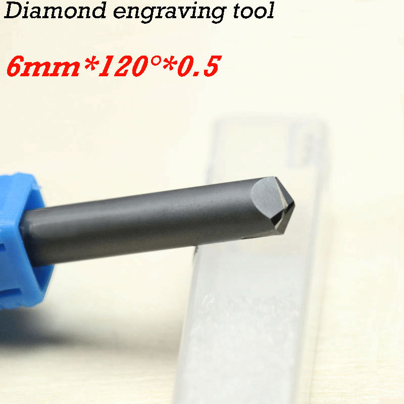 1pc 120 degree 6*0.5mm CNC diamond cutter carving tools stone router bits huhao 1pc 6mm cnc router end mill diamond pcd tools stone hard granite cutting engraving bits 30 35 40 45 degree pcd cutter