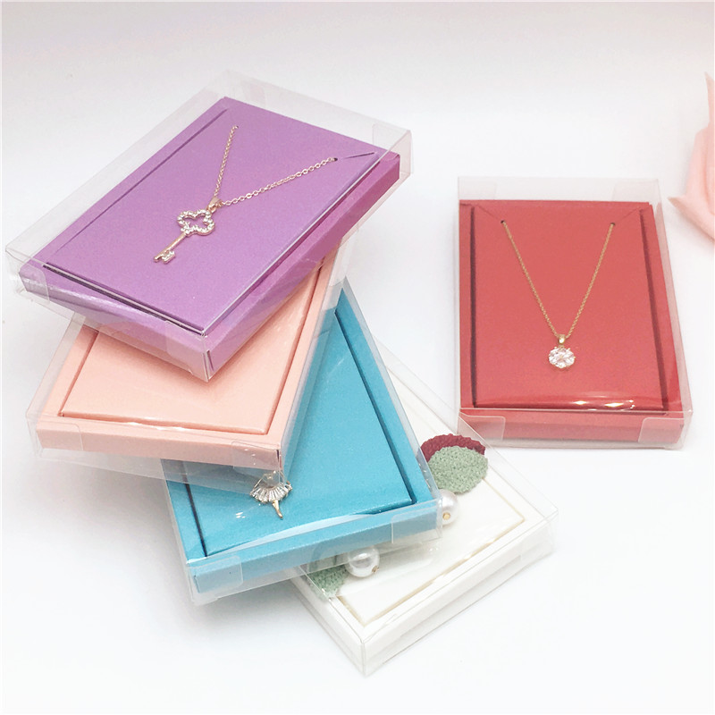 2*8*12cm Transparent Waterproof Plastic Jewelry Packing Boxes+Colorful Inner Necklace Cards Clear Pvc Pendant Displays Gift Box