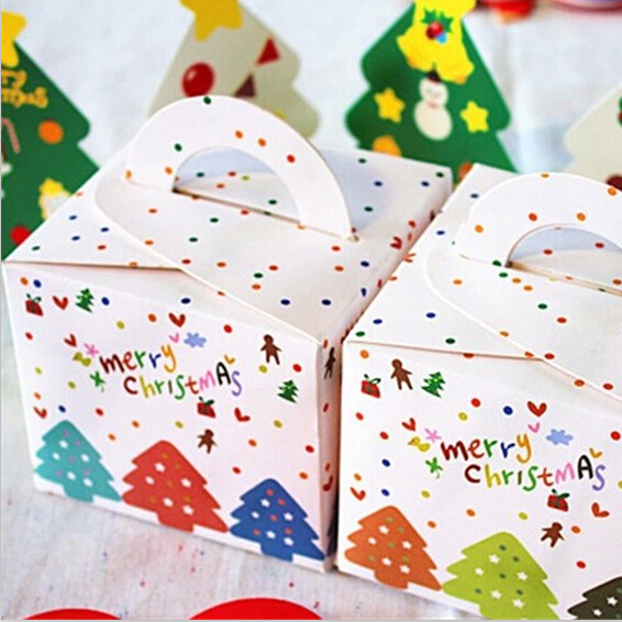 Lovely Multi Trees Merry Christmas Cookie Box Dessert Gingerbread Favor Cake Boxes Candy Gift Package Decorative Supplies