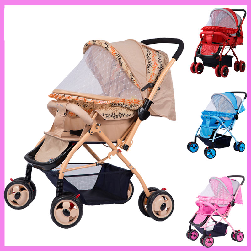 Summer Mosquito Net Travel Folding Portable Four Wheel Cart Carriage Reversible Car Baby Stroller Lightweight Pram Pushchair mige stroller baby trolley cart folding baby carriage baby cart can be lying on the baby cart portable cart pram with 3 gift