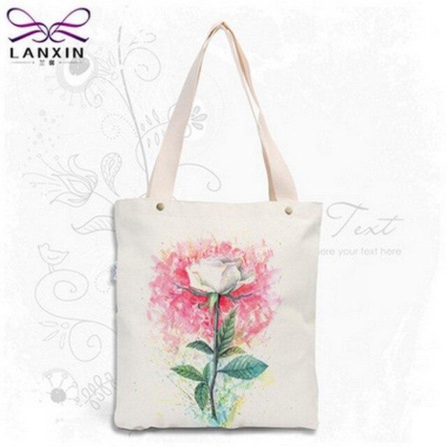 Hot Sale Women Canvas Tote flower Print Female Shoulder Bags Canvas Beach Bag For Girls Shopping Bags Bolsa Feminina