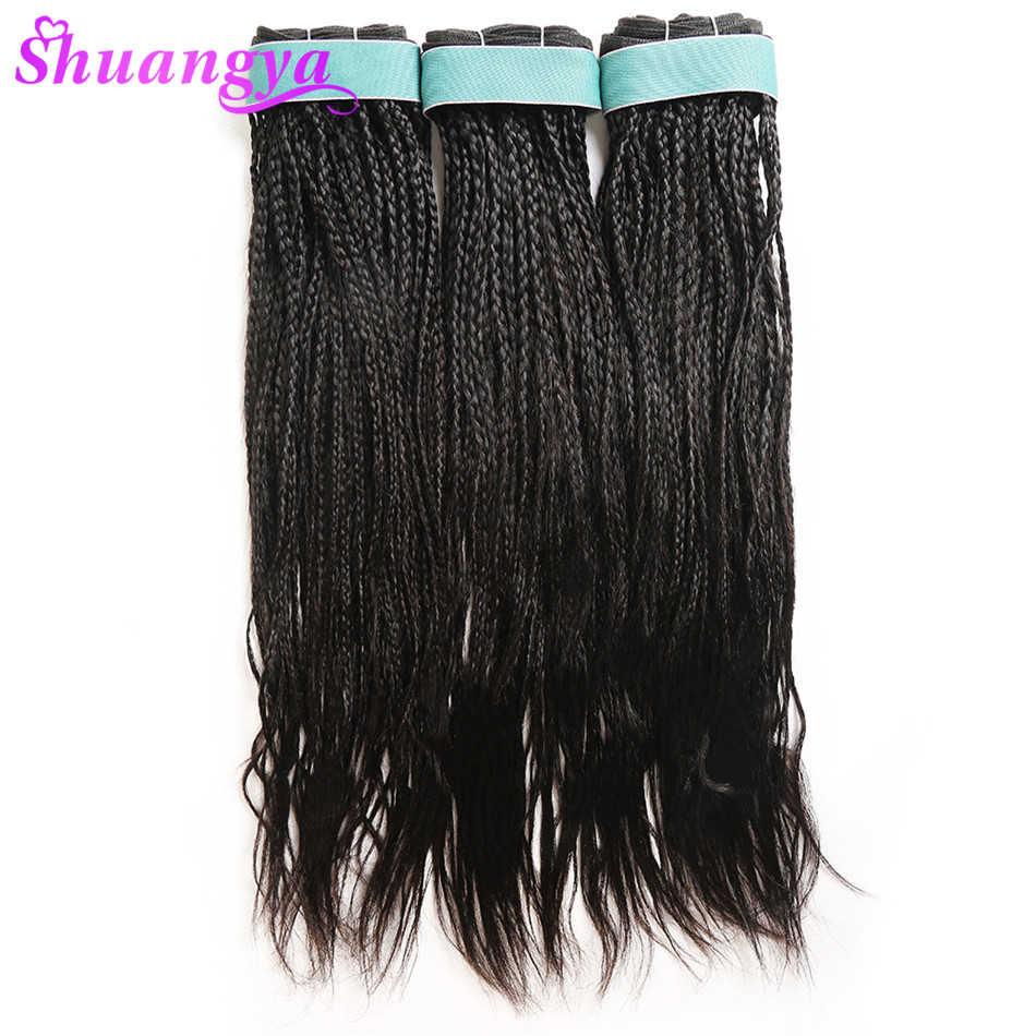 """Волосы шуангья бразильские кудри оплетка 100% человеческие волосы плетение пучки 1 и 3 и 4 пучки волосы Remy наращивание 8 """"-28"""" натуральный цвет"""