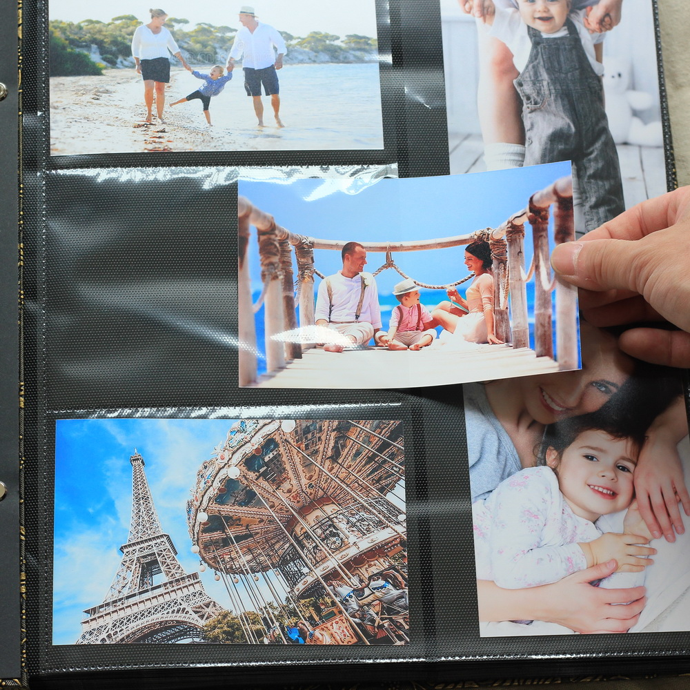 Premium-Frame Cover Large Family Wedding Anniversary Baby Vacation Photo Album 600 Pockets Holds Bound Multi-Directional 4x6inch