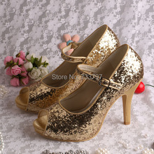 Wedopus Custom Handmade Shiny Glitter Wedding Gold Shoes Party for Women Mary Jane 2016