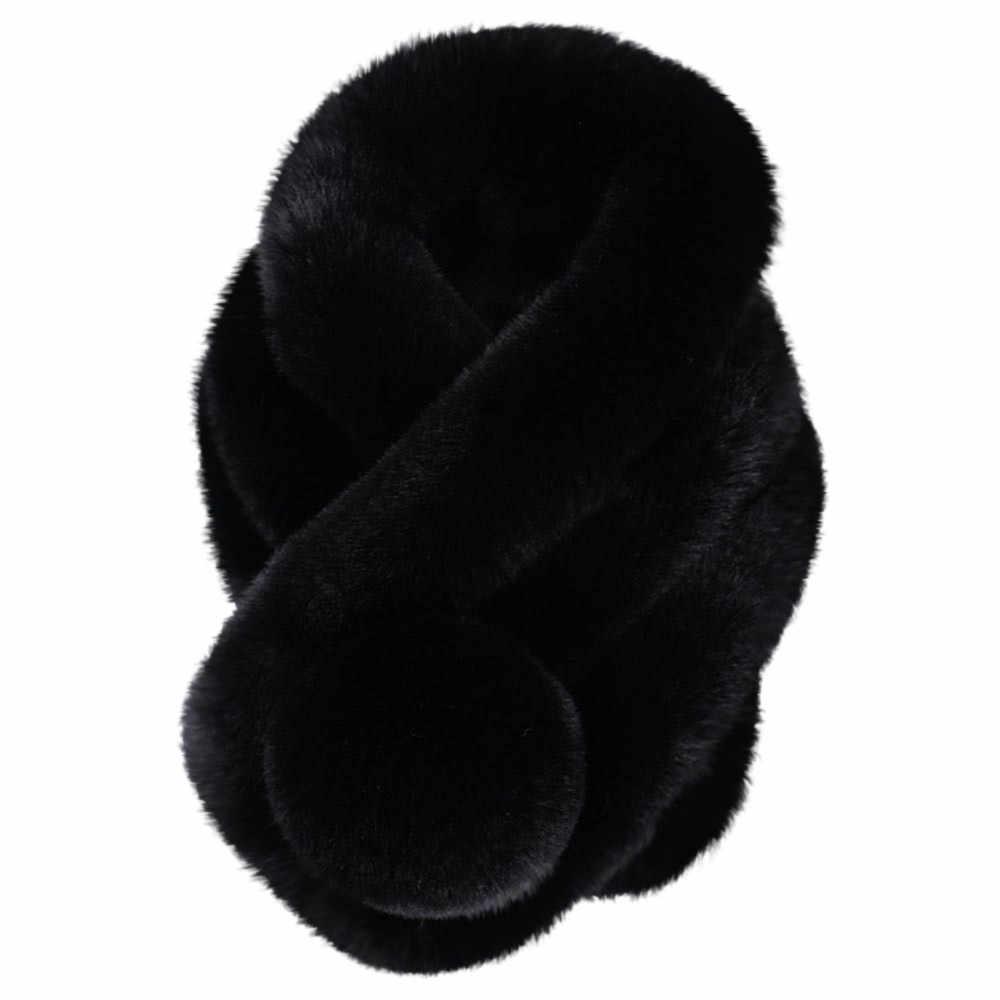 2019 ผู้หญิงฤดูหนาวเลียนแบบ Faux ขนสัตว์ผ้าพันคอแฟชั่น Thicken ขนสัตว์ขนสัตว์เทียมหญ้าผ้าพันคอ Tippet Drop Ship A40