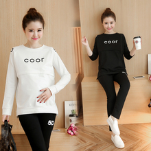 Maternity Hoodies Suit Cotton Breastfeeding Clothes Spring Autumn Nursing Clothing Sleep Hoodies Maternity Sleepwear PajamasB273