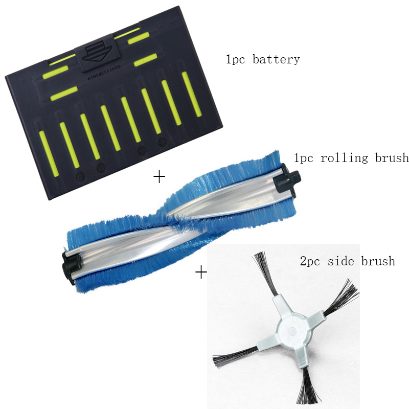 vacuum cleaner part family set super original accessories of robotic vacuum cleaner , battery +rolling brush +side brush