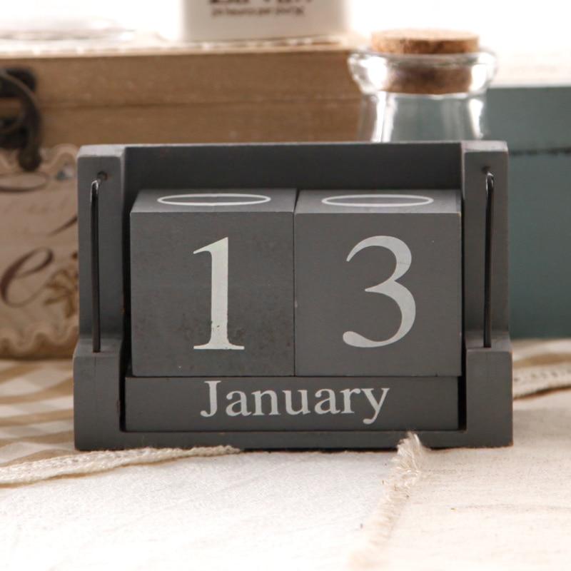 American Retro Wooden Desk Calendar Ornaments Shop Decoration