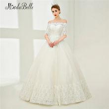 50b1e9f92b Modabelle Elegancka Suknia Ślubna Koronki Rękaw Robe Mariage Tulle Boat  Neck Bridal Dress Cywilnego Suknia Ślubna Z Aplikacjami