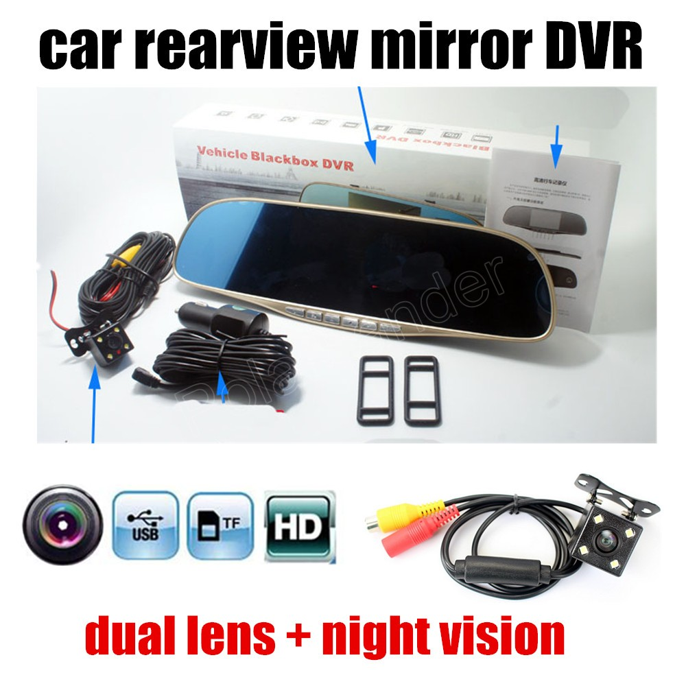 Video-Recorder Daul-Cameras Rearview-Mirror-Car Vehicle Full-Hd New 1080P DVR 5inch Include