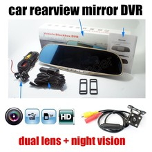 Wholesale free shipping New 5 inch Rearview Mirror Car include Rear view camera Full HD 1080P DVR Daul cameras video recorder vehicle