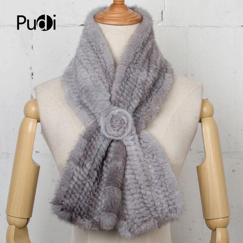 Pudi SF747 véritable écharpe de fourrure de vison véritable tricoté à la main mode d'hiver longue écharpe de fourrure de luxe écharpes fleurs écharpe d'hiver
