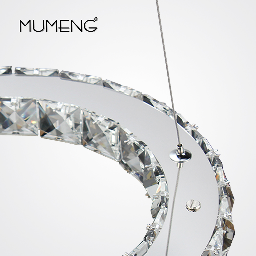 Mumeng modern chrome chandelier crystals diamond ring 24w led lamp mumeng modern chrome chandelier crystals diamond ring 24w led lamp stainless steel hanging light fixtures adjustable cristal in chandeliers from lights aloadofball Image collections