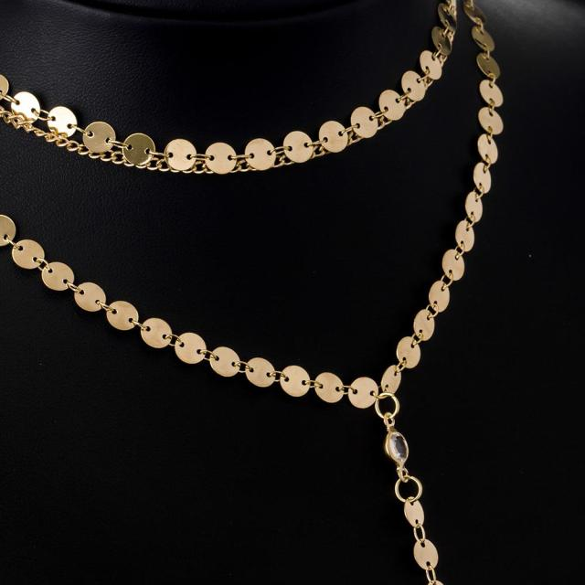 Newest fashion jewelry accessories gold color Multiple layers sheet  chain with crystal  1