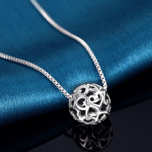 925 Sterling Silver Jewelry heart hollow Globular Necklaces & Pendants for women romantic silver chain necklace Bijoux Femme