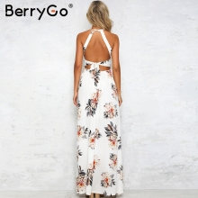 Floral print halter chiffon long dress Women backless 2018 maxi dresses vestidos Sexy white split beach summer dress