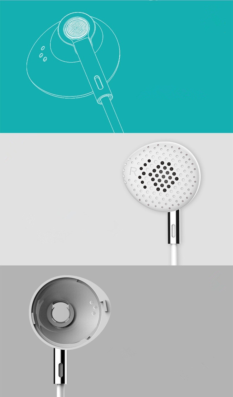 TYAYA Portable Flat Earbuds Open Ear Wired Earphone Anti-Rust Metal Music Headset Comfortable Design for EarS White Blue Pink