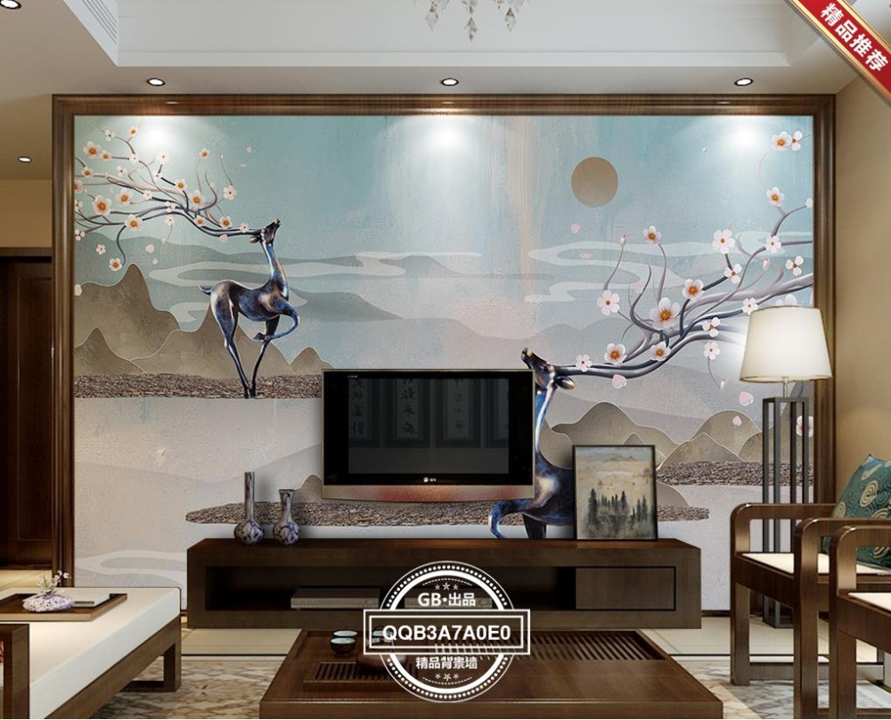 Chinese Vintage 3D Wall Paper sika deer relief 3D Wallpaper For Living room retro Photo Wallpaper For Walls Home Decoration