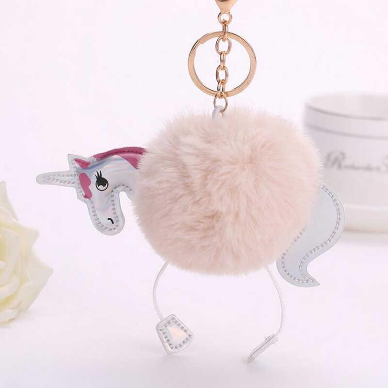 2017 Saco Bonito Cavalo Charme Chaveiro Carro Acessórios Fluffy Unicorn Pony Chaveiro De Pele Bola Pompom Pompom de Pele Do Falso das Mulheres chaveiros
