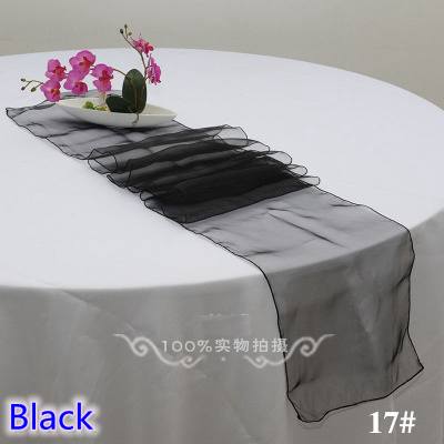 Black Colour High Quality Crystal Organza Table Runner For Linen Table Covers Modern Party Wedding Decoration Wholesale