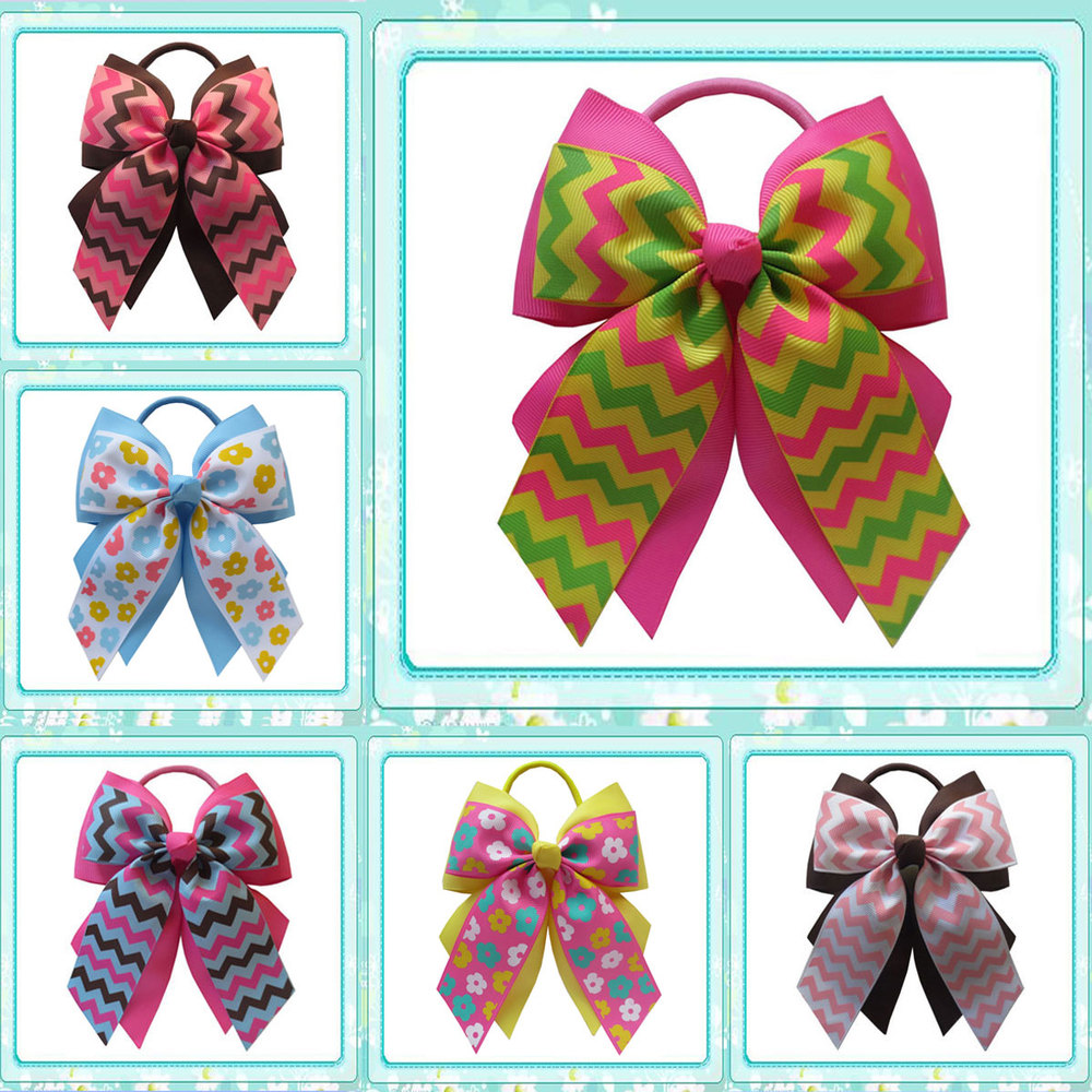 14 pcs BLESSING Happy Girl Hair Accessories 4.5 C- Double Grosgrain Cheer Leader Bow Elastic