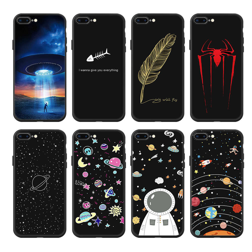 Space Man Love Heart Spider Case For iPhone 7 8 6 6S Plus X Xs Max Xr 5 5S Planet Star Frosted Soft Back Cover For iPhone 8 Plus