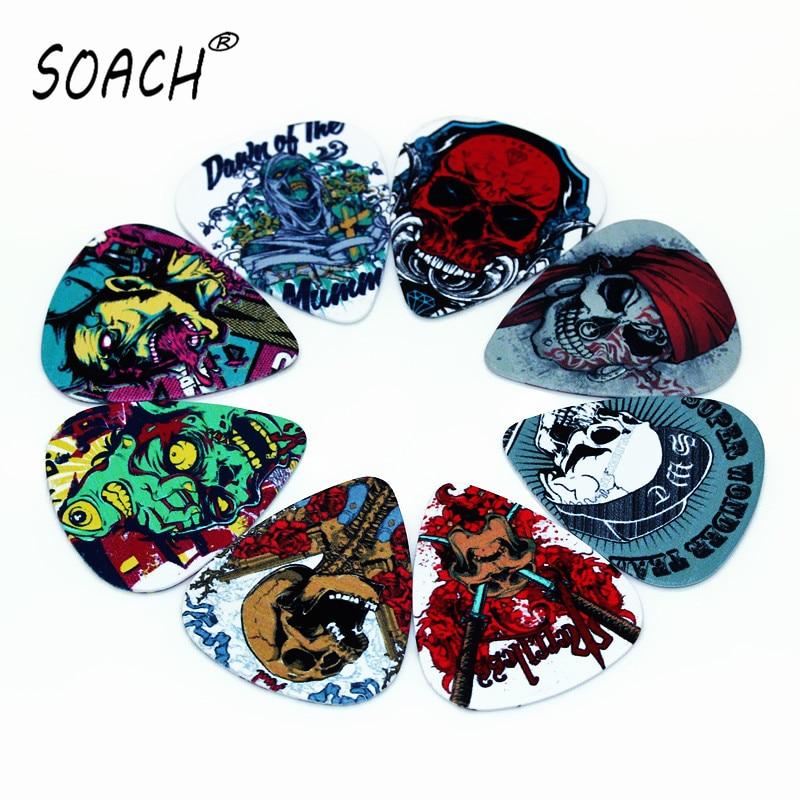SOACH 50pcs Newest SkullGuitar Picks Thickness 1.0mm Pick Guitar Paddle Guitar Accessories Ukulele Bass