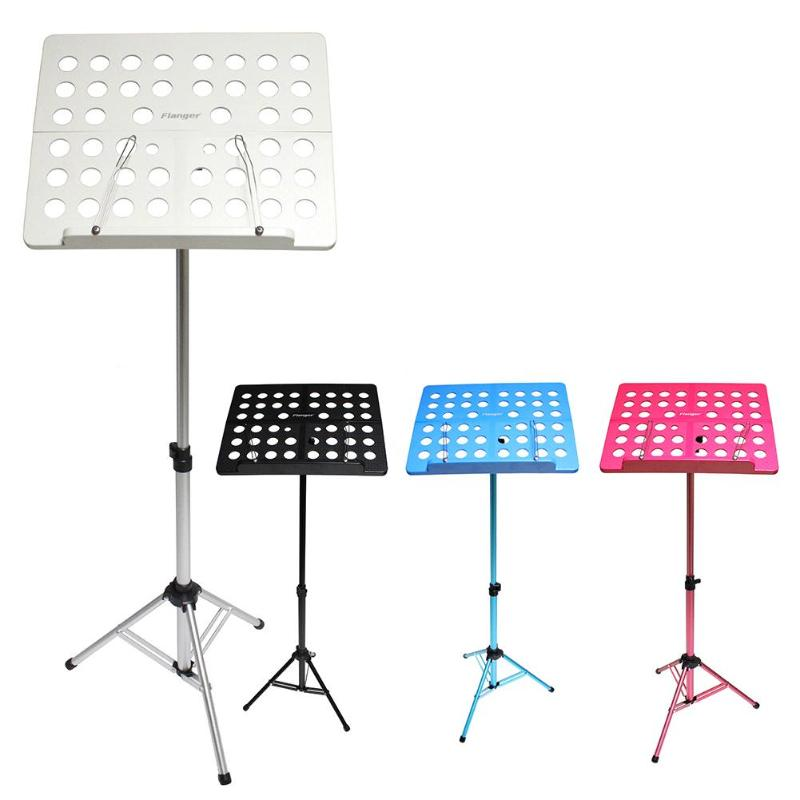 Flanger Folding Music Stand Aluminum Alloy Tripod Stand Holder with Soft Case Carrying Bag Black White Blue Pink 4 Colors colourful sheet folding music stand metal tripod stand holder with soft case with carrying bag free shipping wholesales