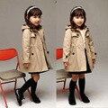2016 Nova Moda Meninas Jaqueta de Outono Inverno de Manga Longa Meninas Coats Hoodied Criança Crianças Outwear para 3-12 Anos meninas