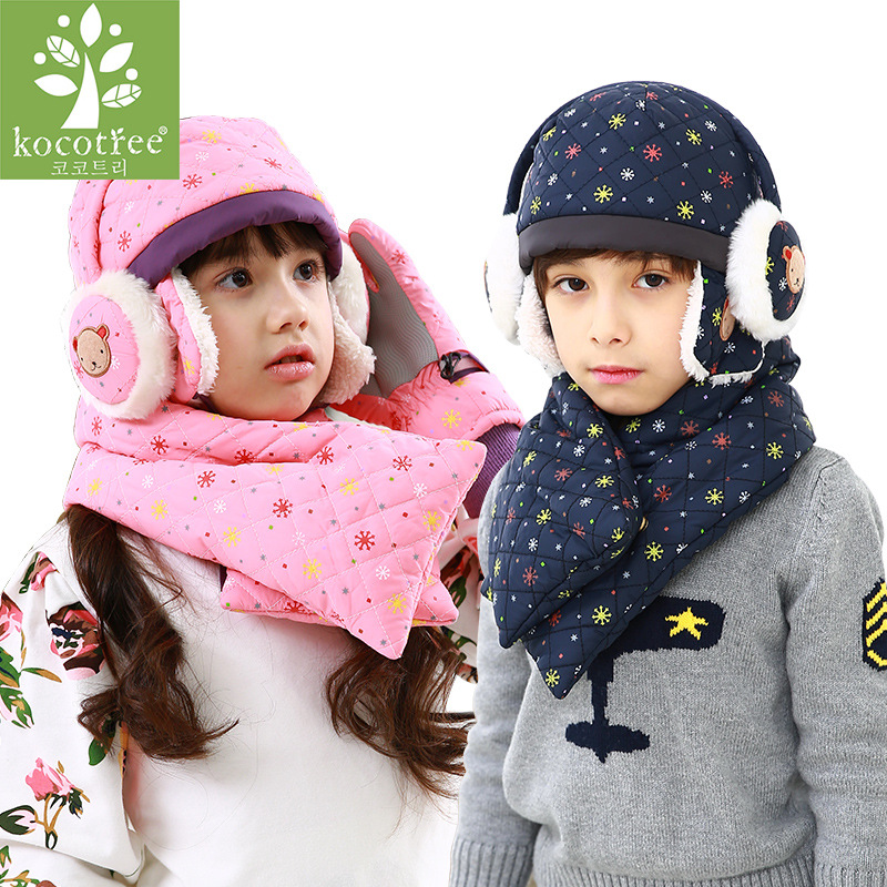 Kocotree Winter Scarf Hat Set Boys Girls Fashion Children's Hat Outdoors Warm Windproof Hats High Quality Kids Hat And Scarf Set