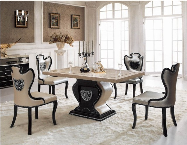 Fashion white dining table chairs dining room furniturein
