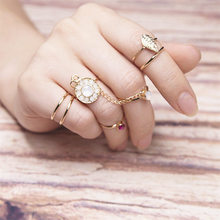 7 pcs/set Charm Gold Color leaves pink stone Midi Finger Ring Set Punk Boho Knuckle Party Rings Jewelry Gift for Girl 1148
