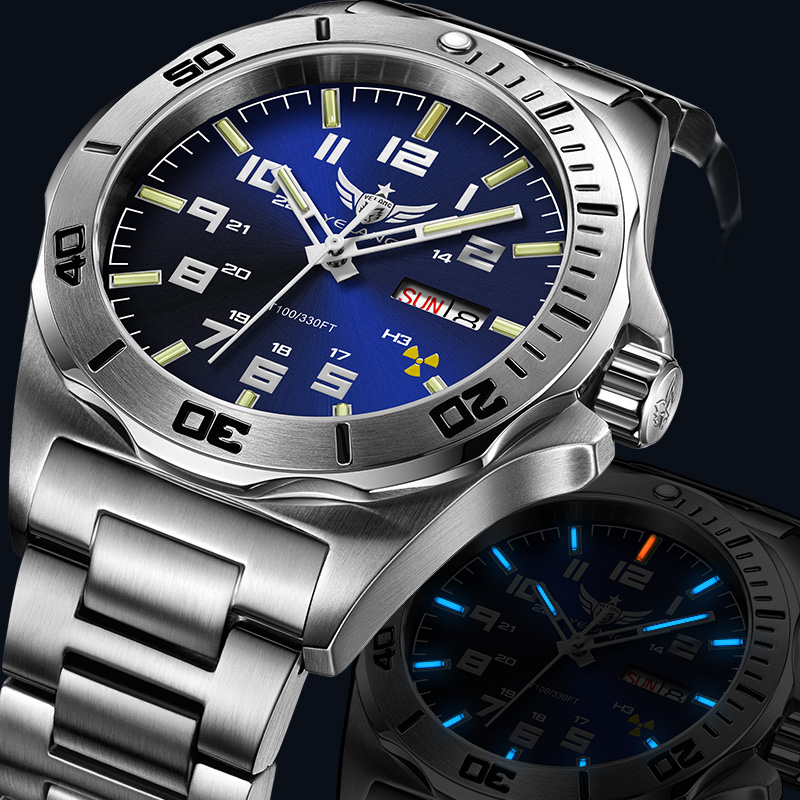 Yelang Men Automatic Mechanical Watch Tritium T100 Japan TOP Movement 24Jewels Sapphire Rotated Dial WR100M Swim Diver Watch