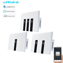 US/AU Standard 1/2/3Gang eWelink APP Touch Switch Via Android And IOS WIFI Control Light Switch Glass Panel Smart Google все цены