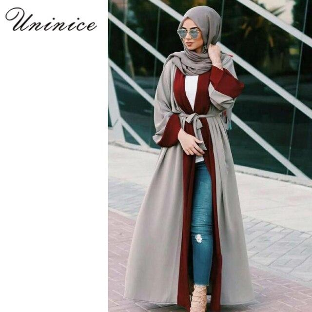 88ca1c1a67da9 Casual Islamic Open Abaya Muslim Maxi Dress Cardigan Jilbab Long Sleeve  Robe Moroccan Arab Dubai Middle East Turkey Clothing