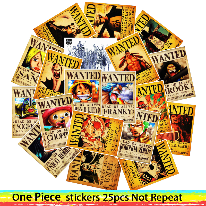25pcs Anime 2019 ONE PIECE Luffy Wanted Stickers For Car Laptop PVC Backpack Home Decal Pad Bicycle waterproof Decal-in Stickers from Toys & Hobbies