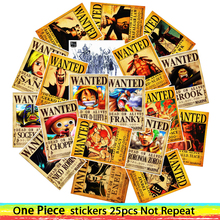 25pcs Anime 2019 ONE PIECE Luffy Wanted Stickers For Car Laptop PVC Backpack Home Decal Pad Bicycle waterproof Decal