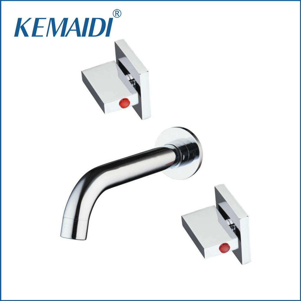 KEMAIDI Hot/Cold Bath Wall Mounted 3 Pcs Torneira Brass Bathtub Sink Bathroom Faucet Double Handles Mixer Tap Faucet kemaidi 3 pcs antique brass