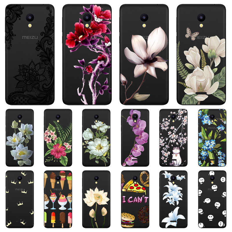 meizu c9 Case,Silicon Black Painting flower Soft TPU Back Cover for meizu c9 pro protect Phone cases shell