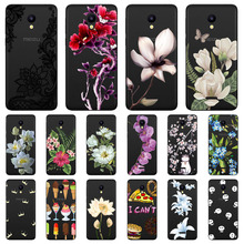 meizu c9 Case,Silicon Black Painting flower Soft TPU Back Co